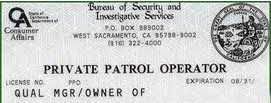 Private Patrol Operator PPO license